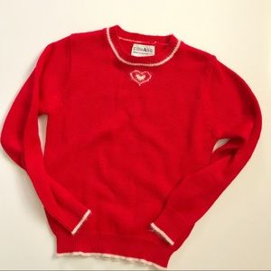 Vintage Red Angora Blend Heart Fuzzy Sweater.